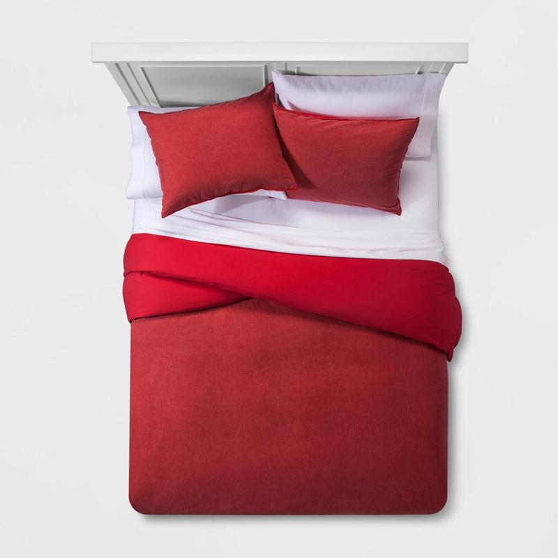 Bộ chăn ga gối bằng vải cotton màu có thể giặt được
