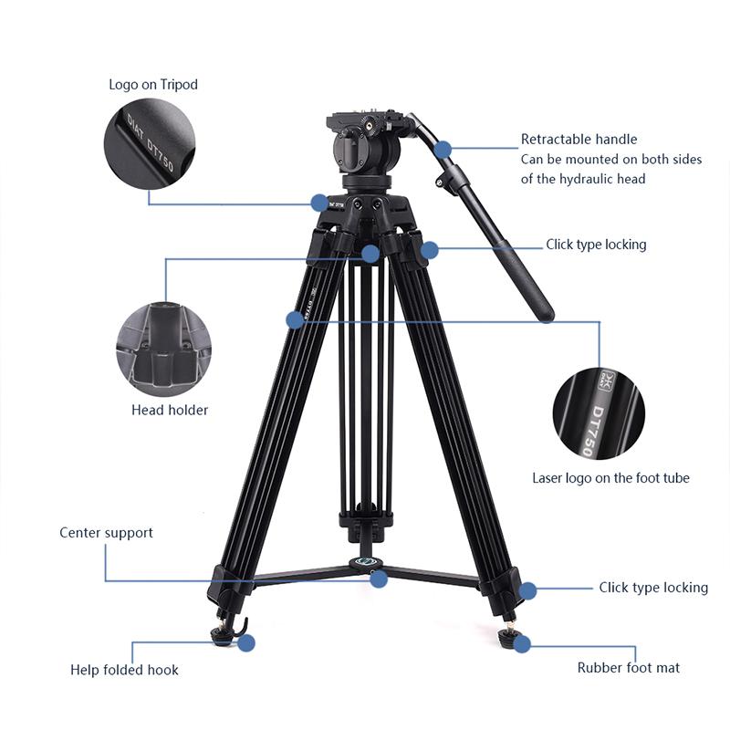 DIAT máy quay video DT750 mới hỗ trợ chân máy ba phần 1.7 mét chân máy ảnh DSLR hạng nặng