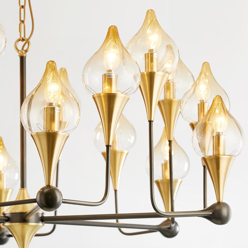 Bắc Âu hiện đại sắt sáng tạo cá tính đèn chùm thủy tinh
