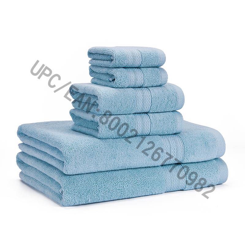 Khăn mặt trong phòng tắm Bộ khăn trải giường, Khăn bông chải kỹ Bộ 6,2 Khăn lau, 2 Khăn tay, 2 Khăn tắm, Khăn mặt Hồ bơi Khăn mặt gia dụng Khăn thấm nước siêu bền Thoải mái siêu mềm (Xanh nhạt, 6)
