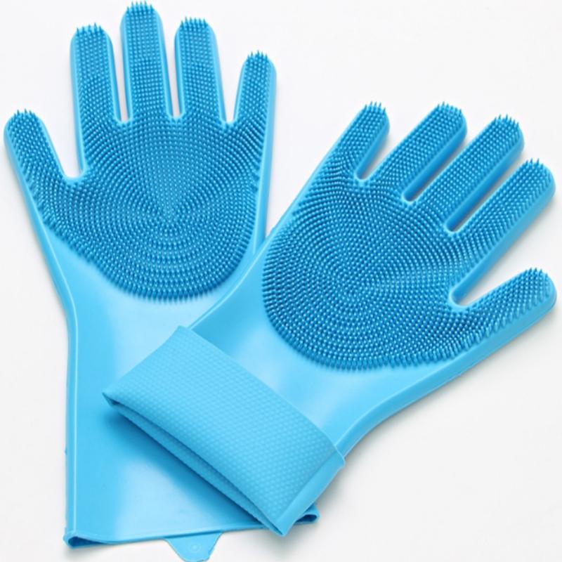 Găng tay rửa chén bằng silicon cách nhiệt, bàn chải làm sạch nhà bếp chống trượt và chống mài mòn