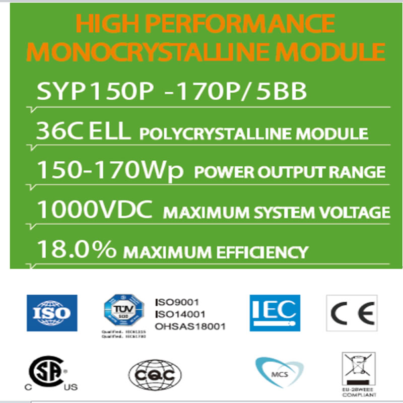 MODULE MONOCRYSTALLINE HIỆU SUẤT CAO SYP150P -170P / 5BB 36C ELL POLYCRYSTALLINE MODULE