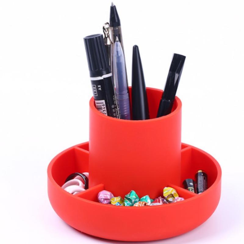 Hộp đựng bút silicon tròn đa chức năng ống thực phẩm silica gel máy tính để bàn văn phòng tiếp nhận và đồ đạc