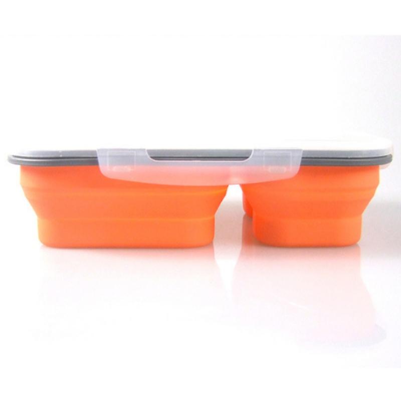 Hộp cơm trưa hai lớp hộp cơm trưa silicone hộp tươi trẻ em hộp ăn trưa gấp bát tùy chỉnh