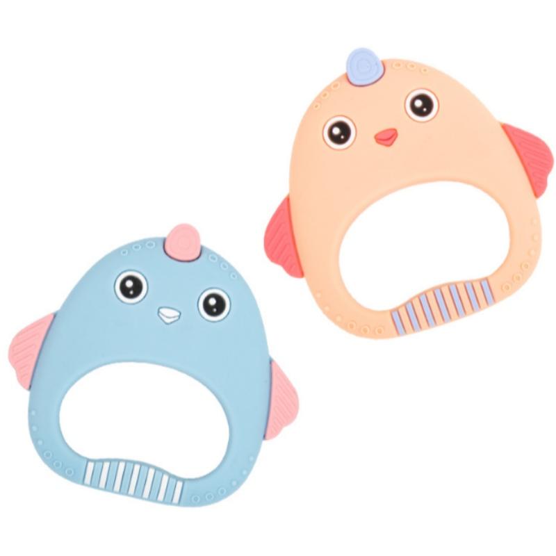 Kẹo cao su silicon dễ thương gà gôm chống cắn tay xoa dịu răng hàm đồ chơi của mẹ và trẻ sơ sinh