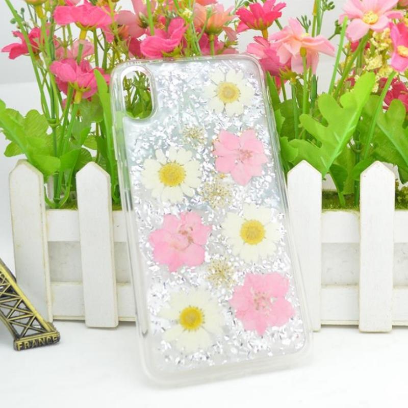 Nhà sản xuất iPhone trực tiếp với giấy vàng thả keo dán hoa thật khô Hoa dập nổi vỏ táo trong suốt